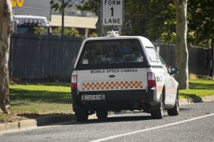 Mobile_Speed_Camera_fitted_to_a_Ford_FG_Falcon_Ute_parked_on_Hammond_Ave_in_East_Wagga